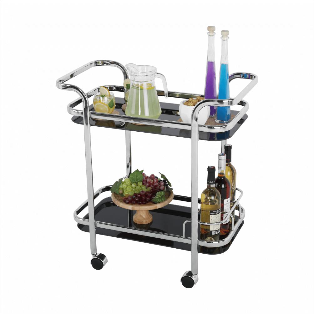 Măsuță de servire, negru sticlă+crom, ELON