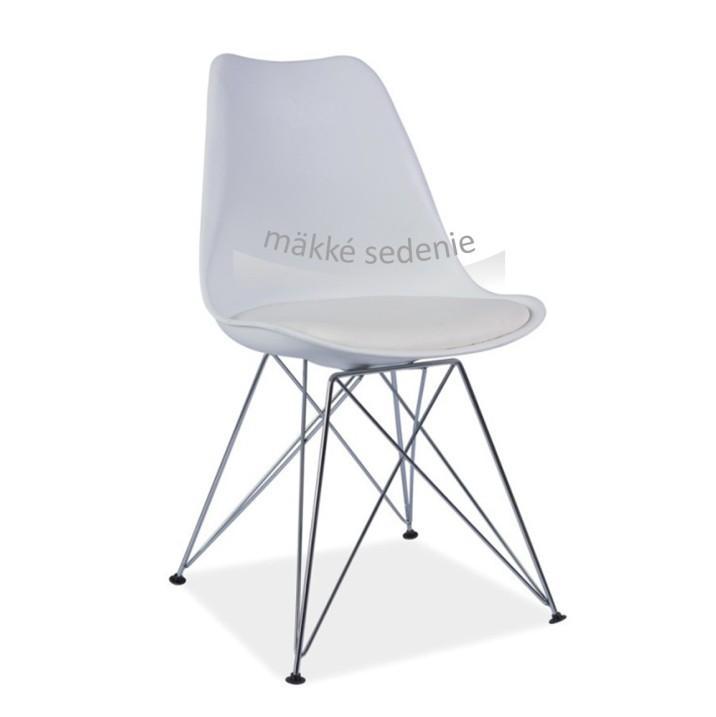 Modern szék extra puha üléspárnával ? textilbőr, fehér+króm, METAL NEW