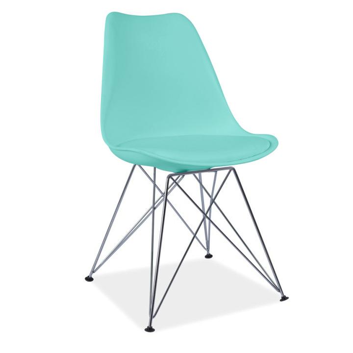 Židle, mentolová / chrom, METAL NEW
