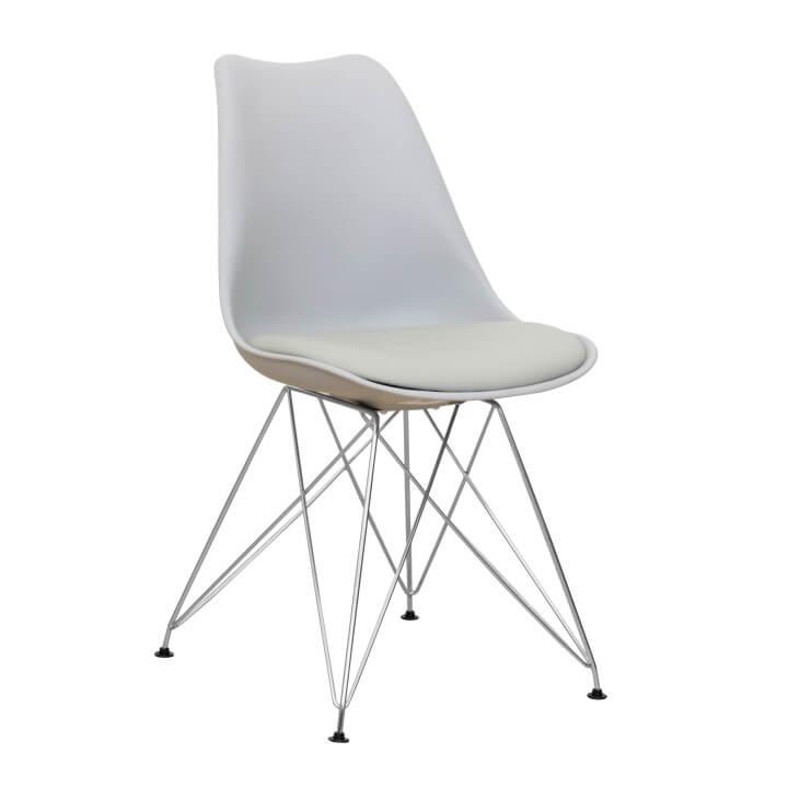 METAL NEW - Židle, studená šedá + chrom, TEMPO KONDELA