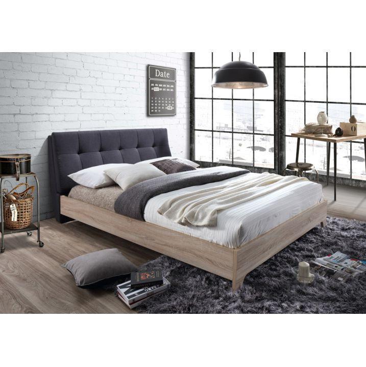 Manželská posteľ s roštom, 160x200, Látka/MDF, sivá/dub sonoma, LORAN