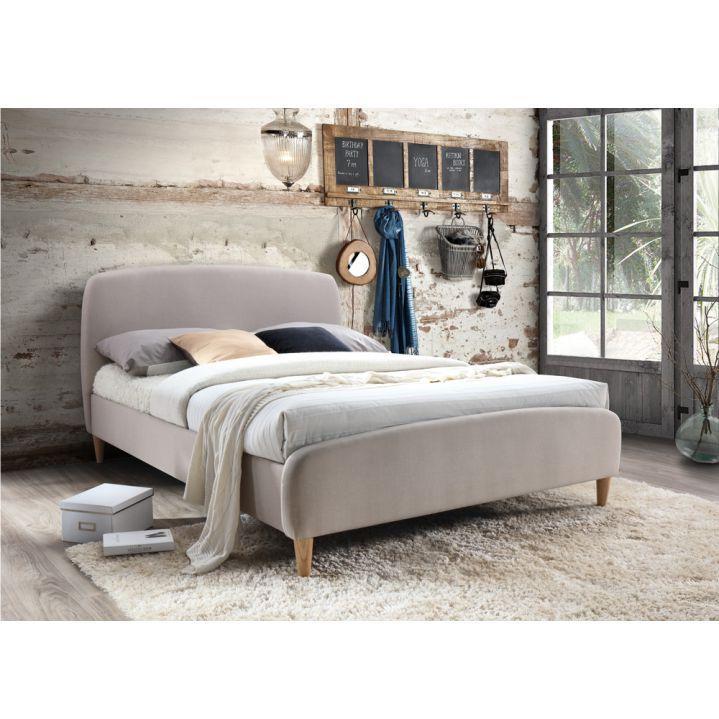 Manželská posteľ s roštom, 180x200, béžová látka/ drevené nohy, RUPA