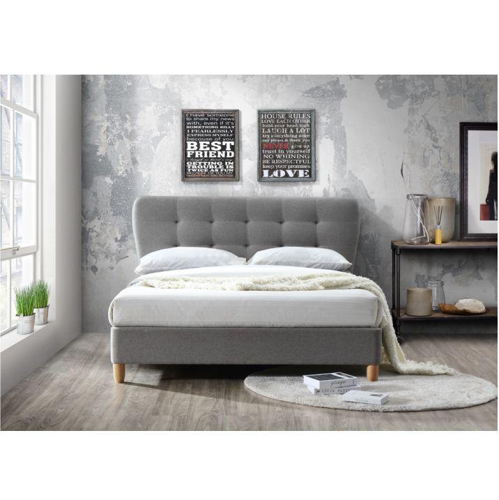 Manželská posteľ s roštom, 160x200, látka/drevo, sivý melír/dub, NORIKA