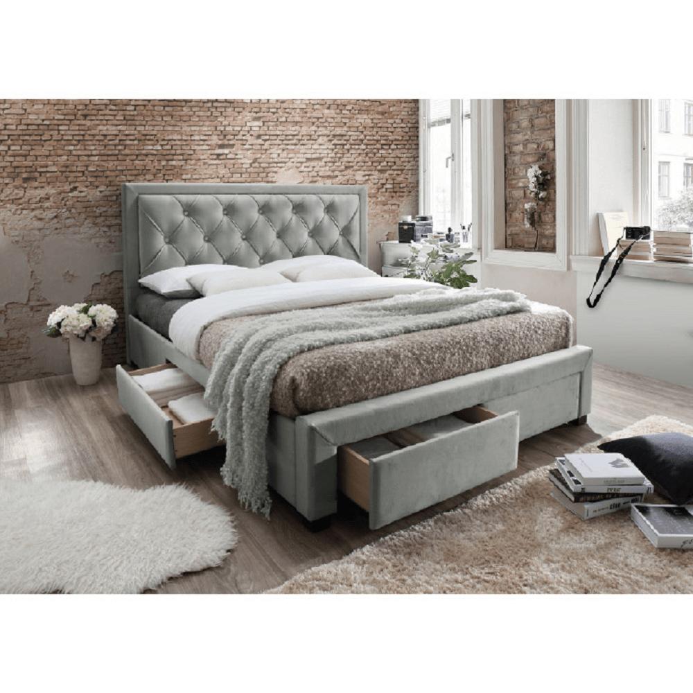 Manželská postel, šedohnědá, 180x200 cm, OREA, TEMPO KONDELA