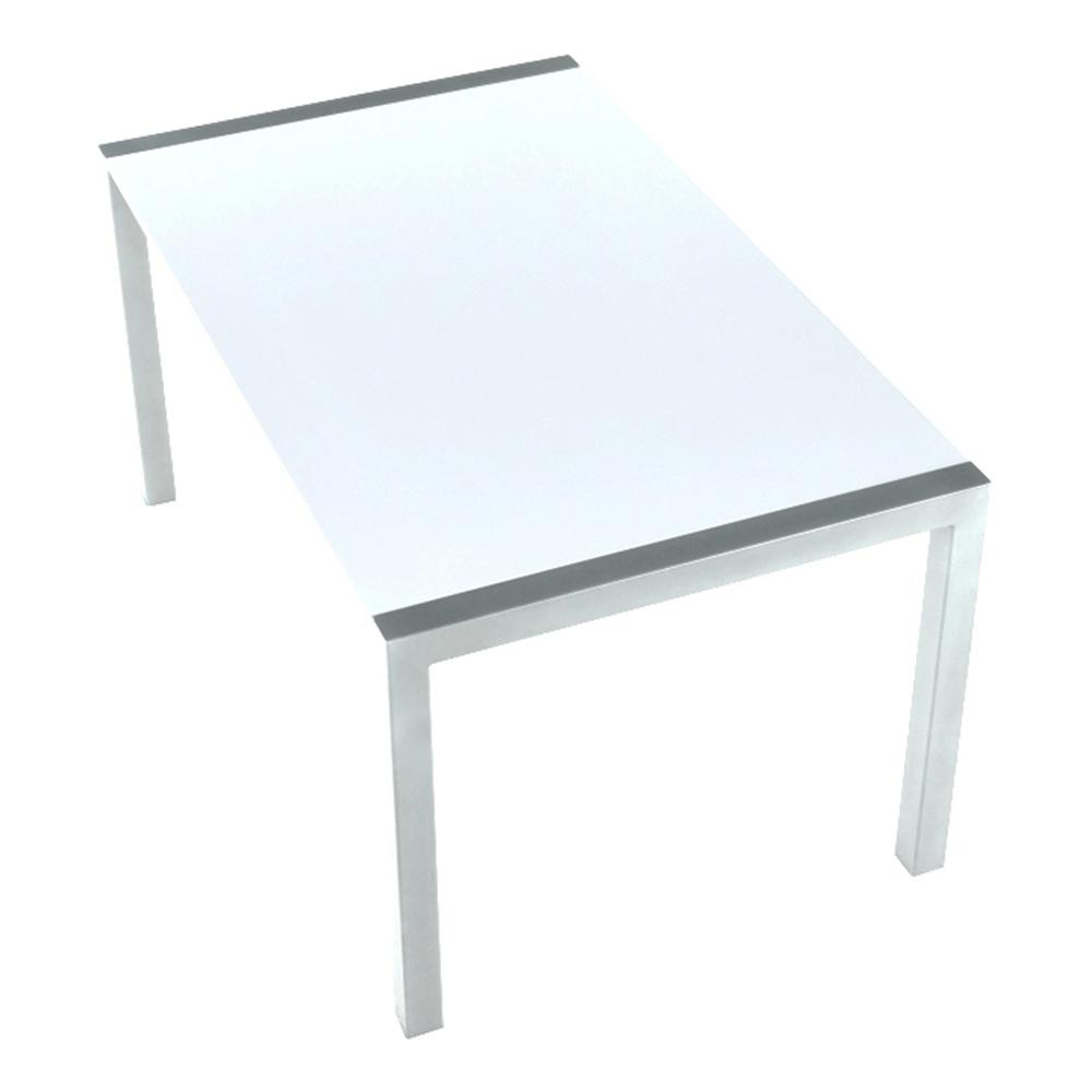 Étkezőasztal, nyitható, MDF/fém, fehér extra magasfényű HG/ezüst, DARO