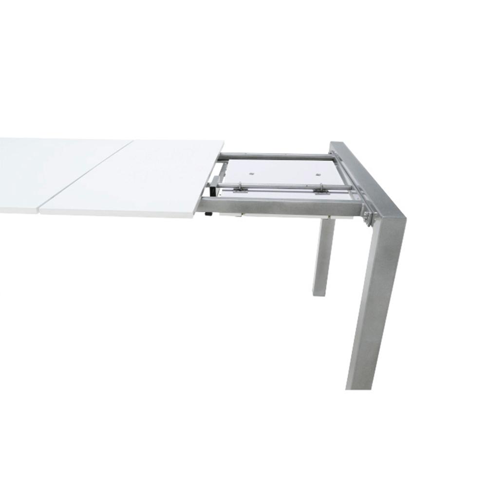 Jídelní stůl, rozkládací, MDF / kov, bílá extra vysoký lesk HG / stříbrná, DARO, TEMPO KONDELA