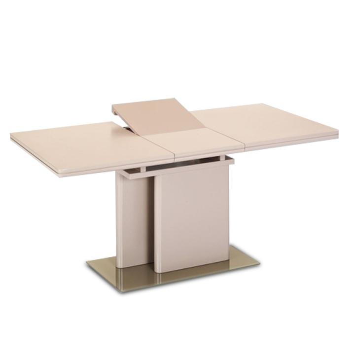 Jedálenský rozkladací stôl, capuccino extra vysoký lesk/tvrdené sklo, VIRAT