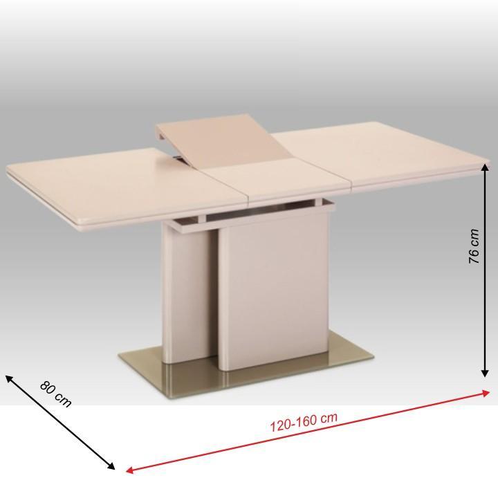 Jedálenský rozkladací stôl, MDF capuccino HG + tvrdené sklo, VIRAT