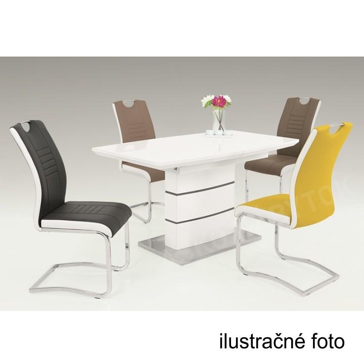 Jedálenský rozkladací stôl, biela s vysokým leskom HG,  MEDAN