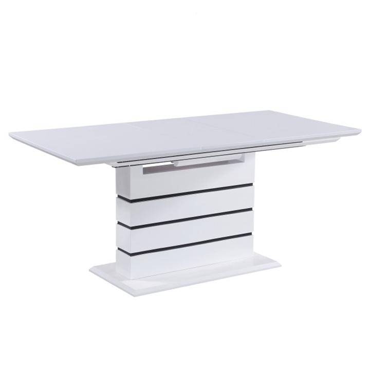 Jedálenský rozkladací stôl, biela s vysokým leskom HG, MEDAN, rozbalený tovar