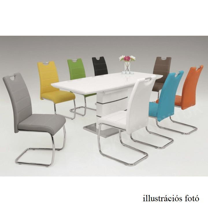 Étkezőasztal meghosszabbítható, MDF extra  magasfényű fehér HG, MEDAN A1045  140/180x90