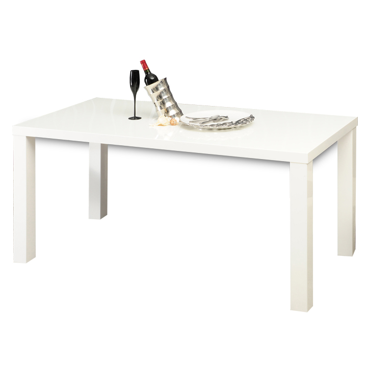 Jedálenský stôl rozkladací, biela vysoký lesk HG, ASPER TYP 1