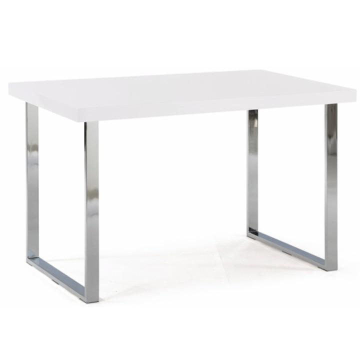 Étkezőasztal, extra magasfényű fehér HG + króm, TALOS
