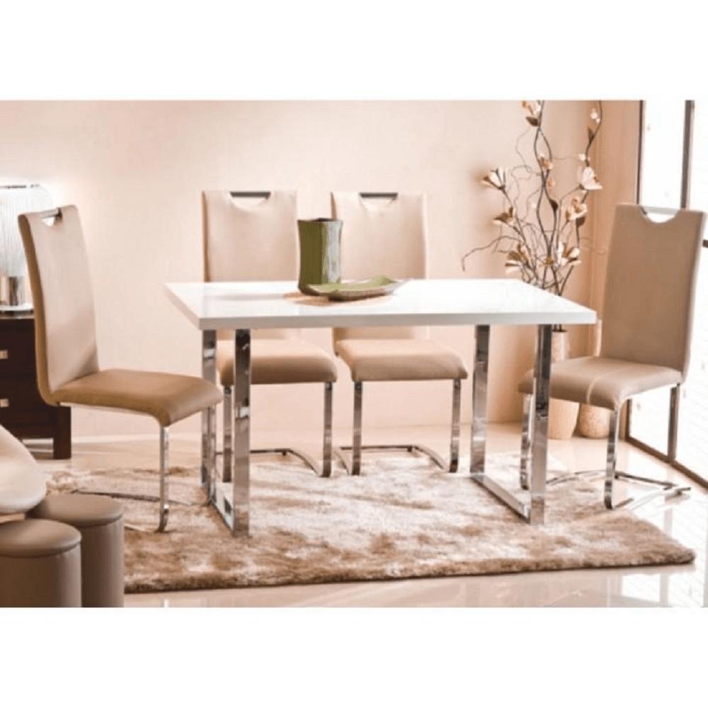 Jídelní stůl, bílá HG + chrom, TALOS, TEMPO KONDELA