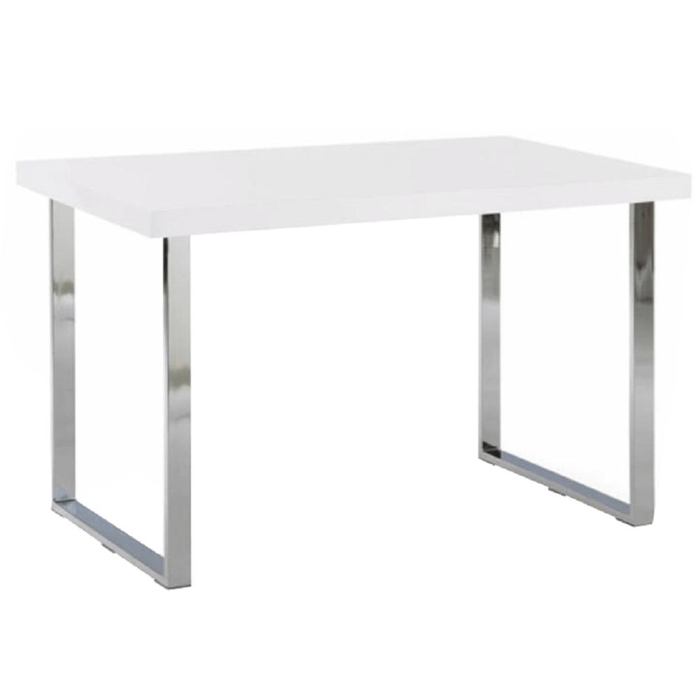Jídelní stůl, bílá HG + chrom, TALOS