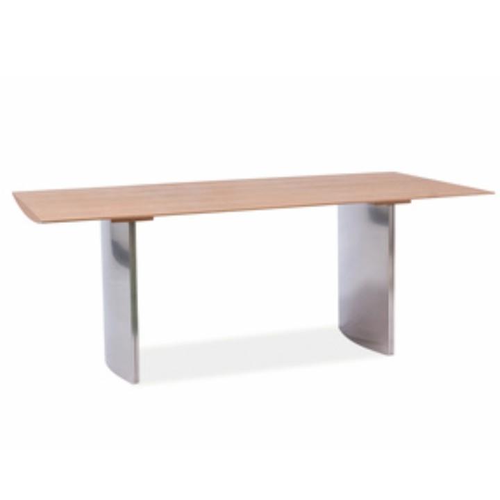 luxus modern Étkezőasztal , króm + bükkfa, MADUR 200x100 A-1064