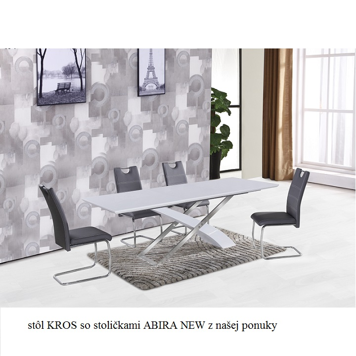 Jedálenský stôl, rozkladací 160/220, MDF + kov, KROS