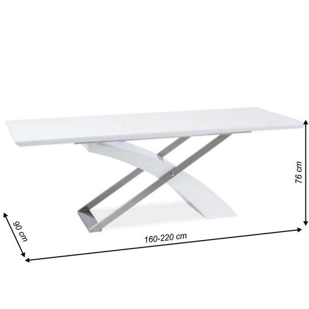 Masă extensibilă de bucătărie, alb extra strălucitor/metal, KROS