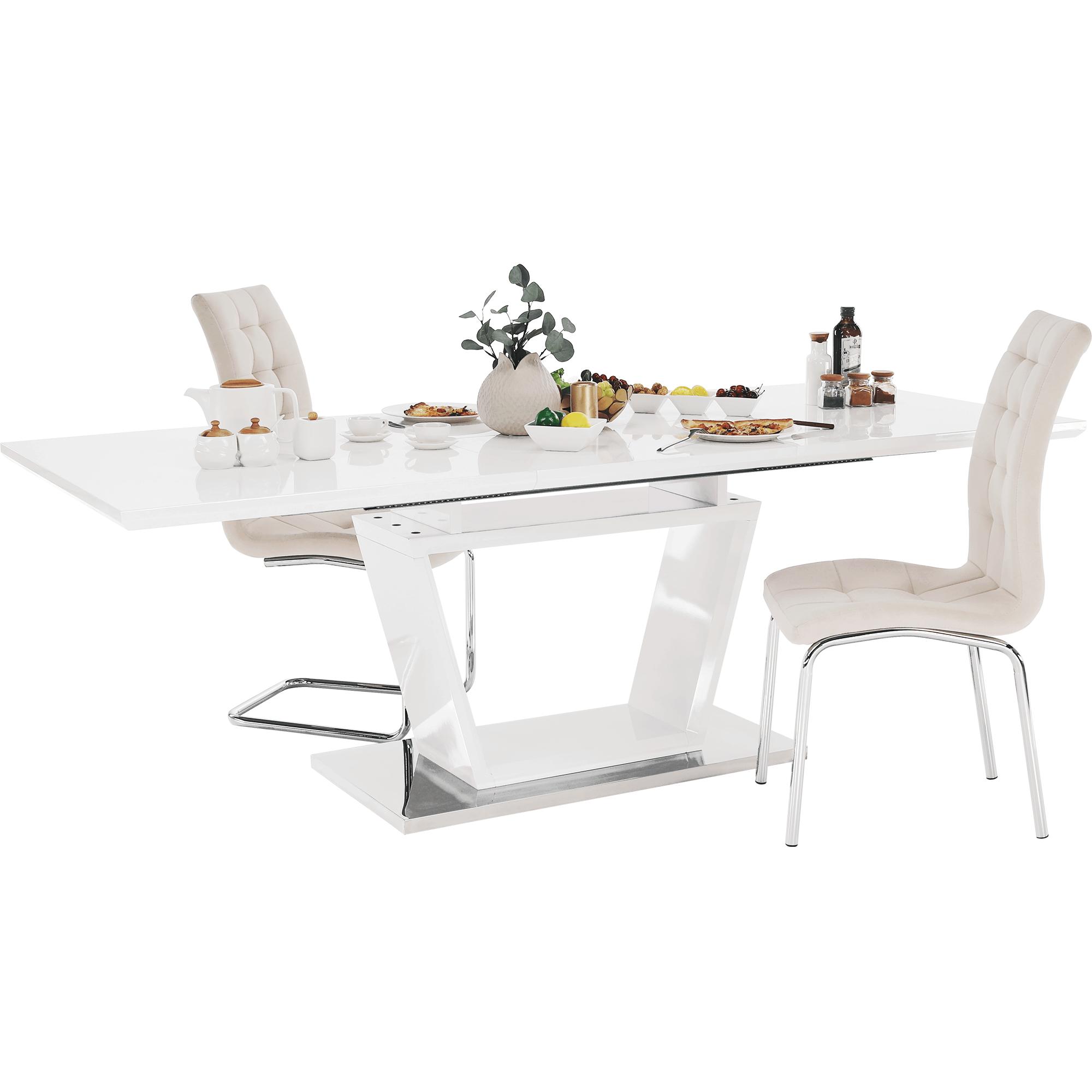 Masă dining, pliabilă, alb luciu extra ridicat / oțel, PERAK