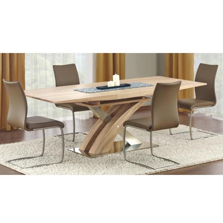 Jedálenský stôl, rozkladací, MDF+oceľ, dub sonoma, BONET