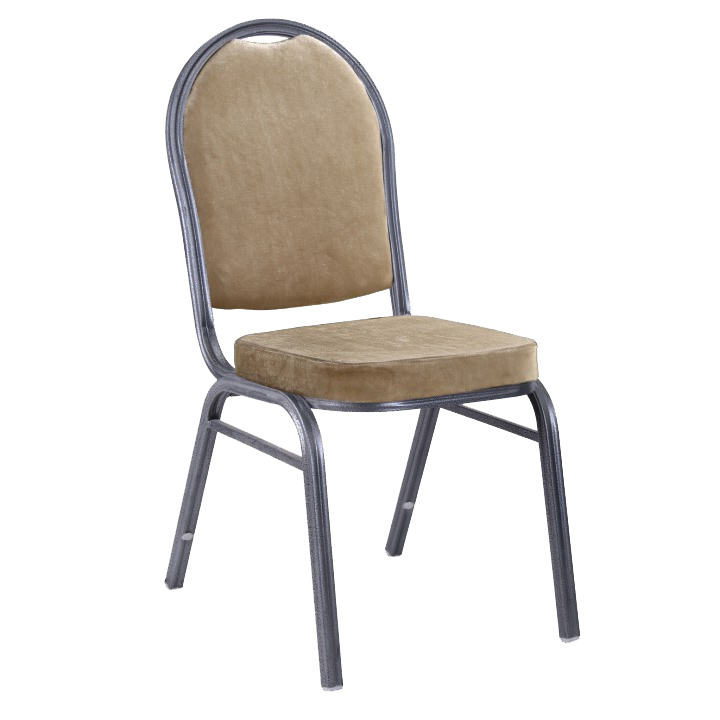 Stolička, stohovateľná, látka béžová/rám sivý, JEFF 2 NEW