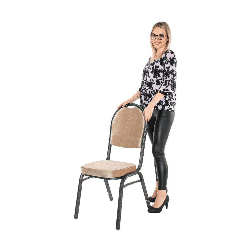 Židle, stohovatelná, látka béžová / rám šedý, JEFF 2 NEW, TEMPO KONDELA