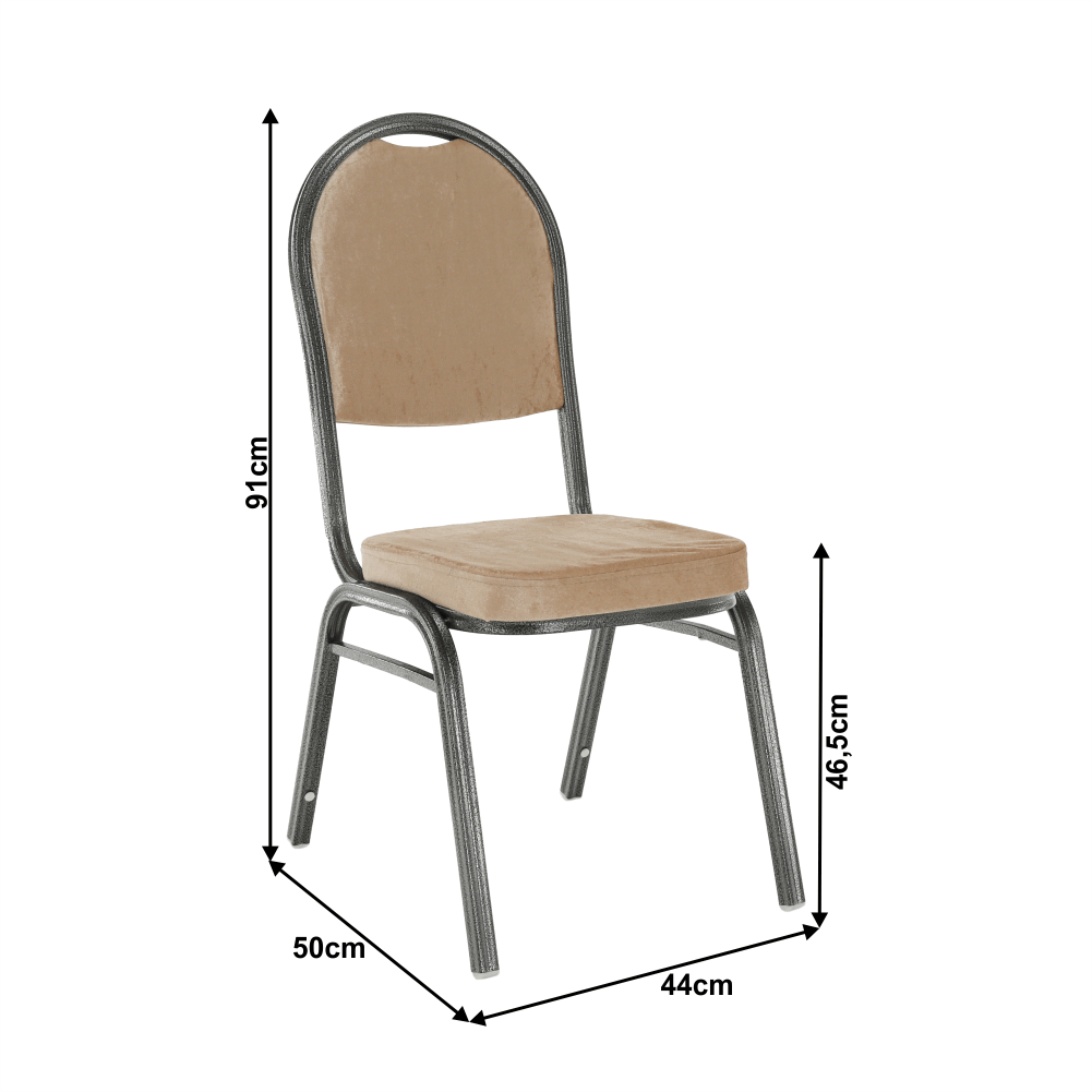 Egymásra rakható szék, bézs színű szövet / szürke kalapács keret, JEFF NEW