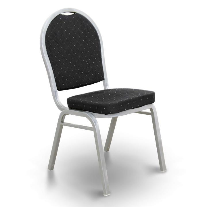 Stolička, stohovateľná, látka čierna/sivý rám, JEFF 2  NEW