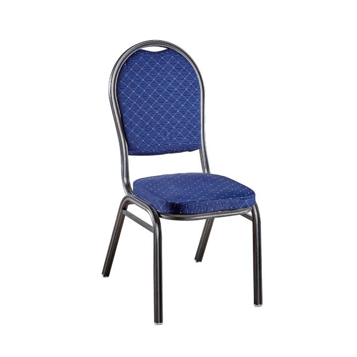 Stolička, stohovateľná, látka modrá/sivý rám, JEFF 2 NEW