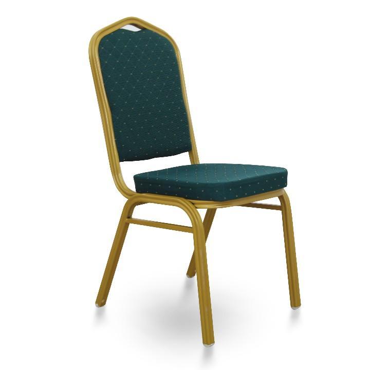 Egymásra rakható szék, zöld szövet/bágyadt arany keret, ZINA