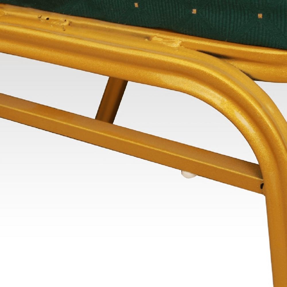 Szék, rakásolható, zöld/matt aranyszín, ZINA 2 NEW