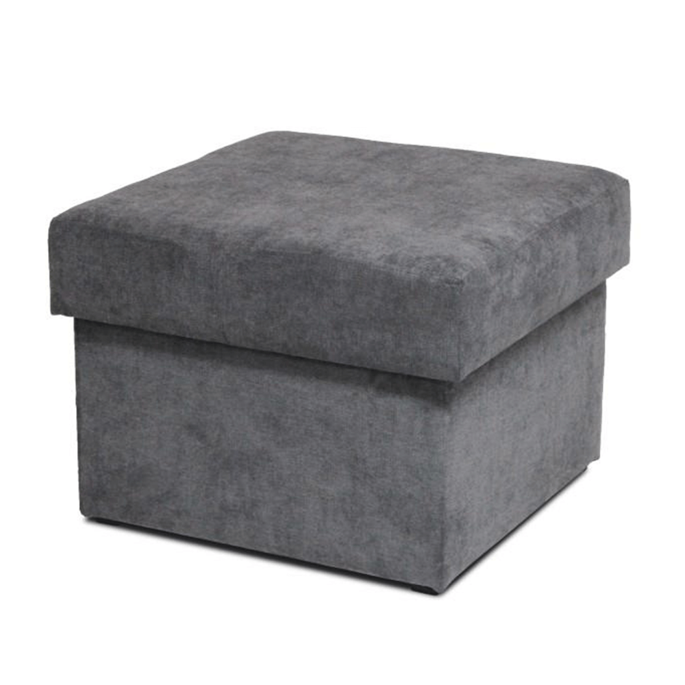 Taburet cu spațiu de depozitare, material textil gri, IZA NEW