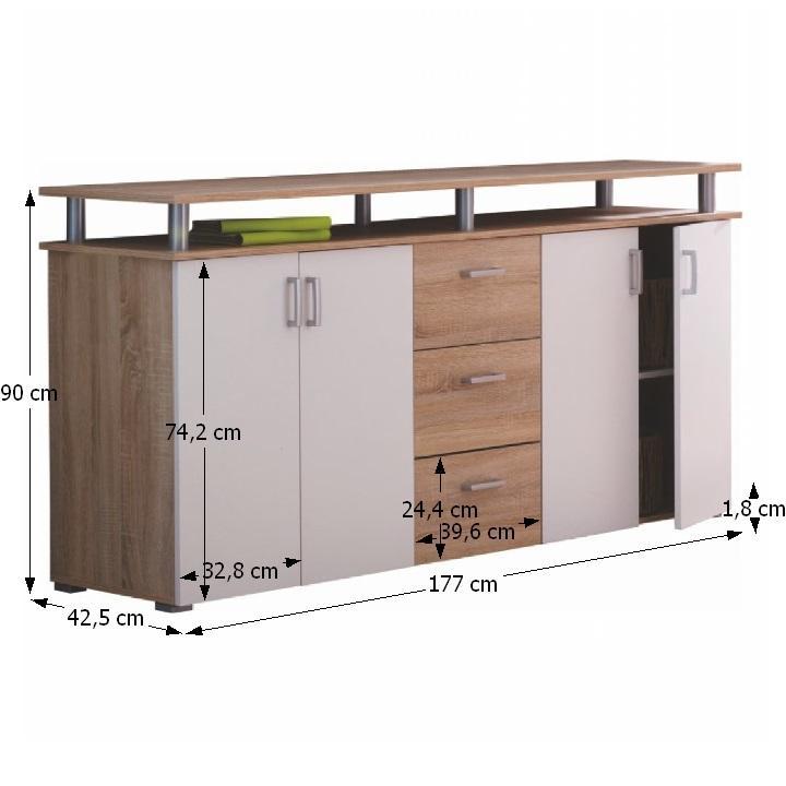 TEMPO KONDELA Komoda, 4 dverová s 3 zásuvkami, dub/biela, SVIT C - Tempo nábytek