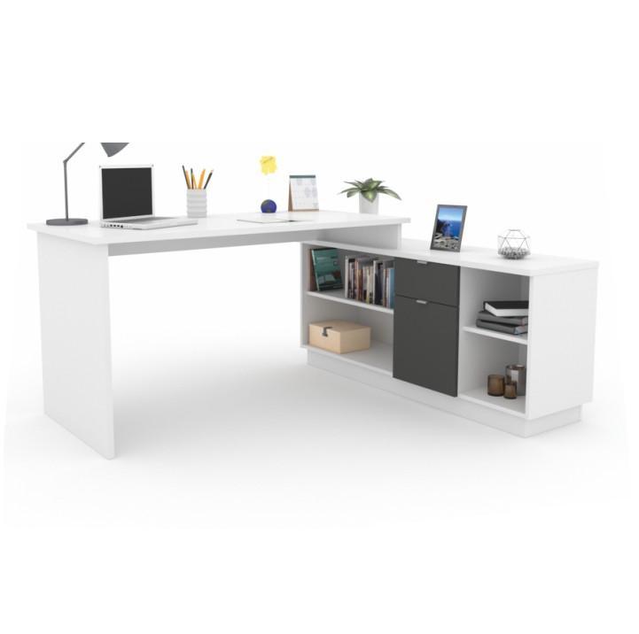 Sarokíróasztal polccal, fehér/grafit, DALTON NEW