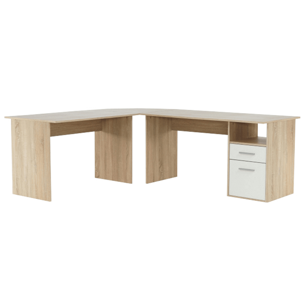 Rohový PC stůl, dub sonoma / bílá, Maurus NEW MA11, TEMPO KONDELA