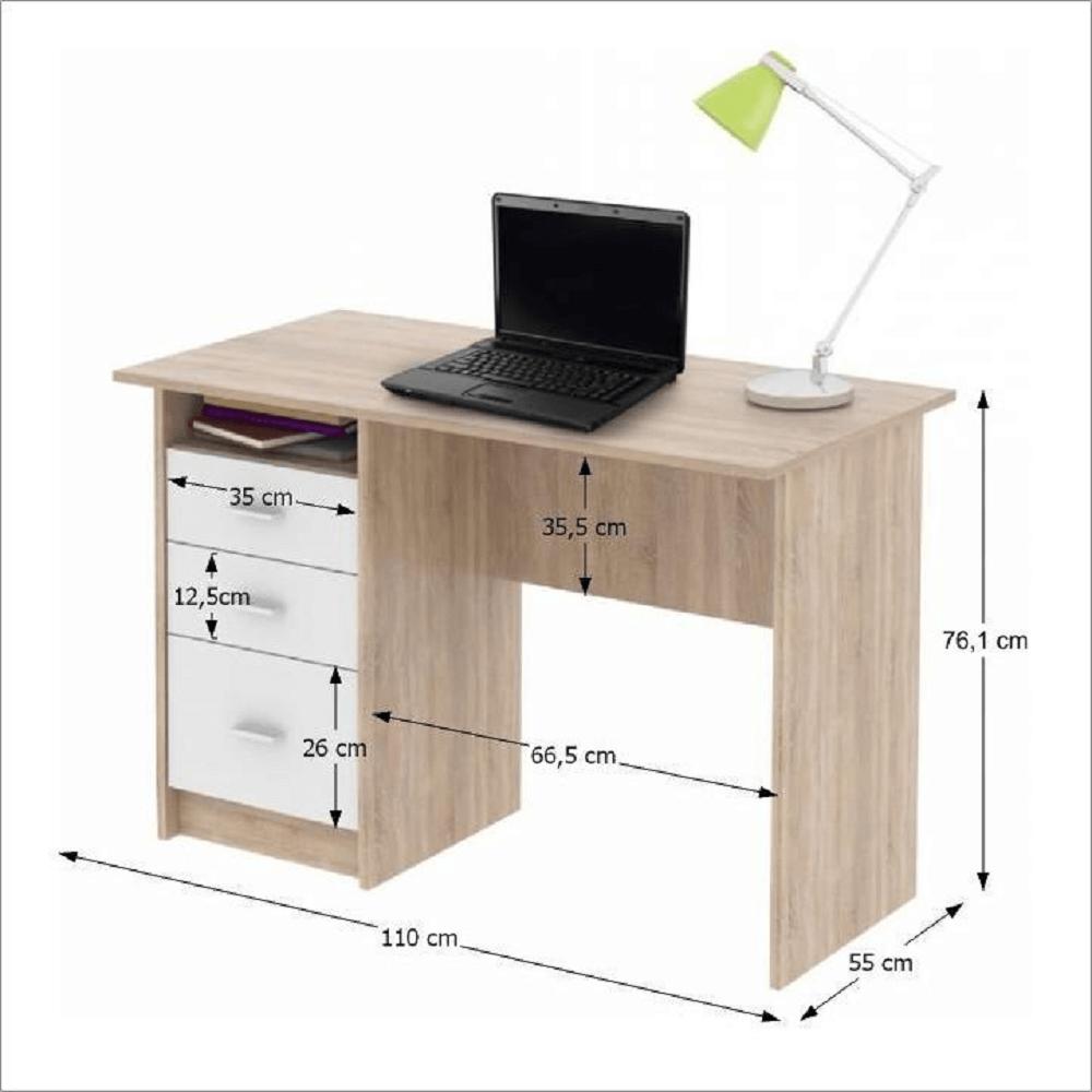 PC stůl, dub sonoma / bílá, SAMSON NEW, TEMPO KONDELA