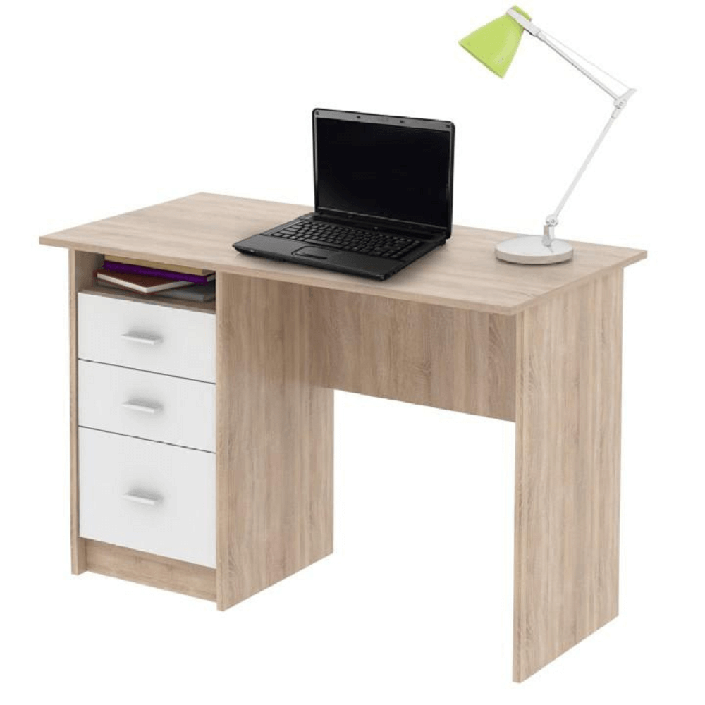 SAMSON - PC stůl, dub sonoma / bílá, TEMPO KONDELA