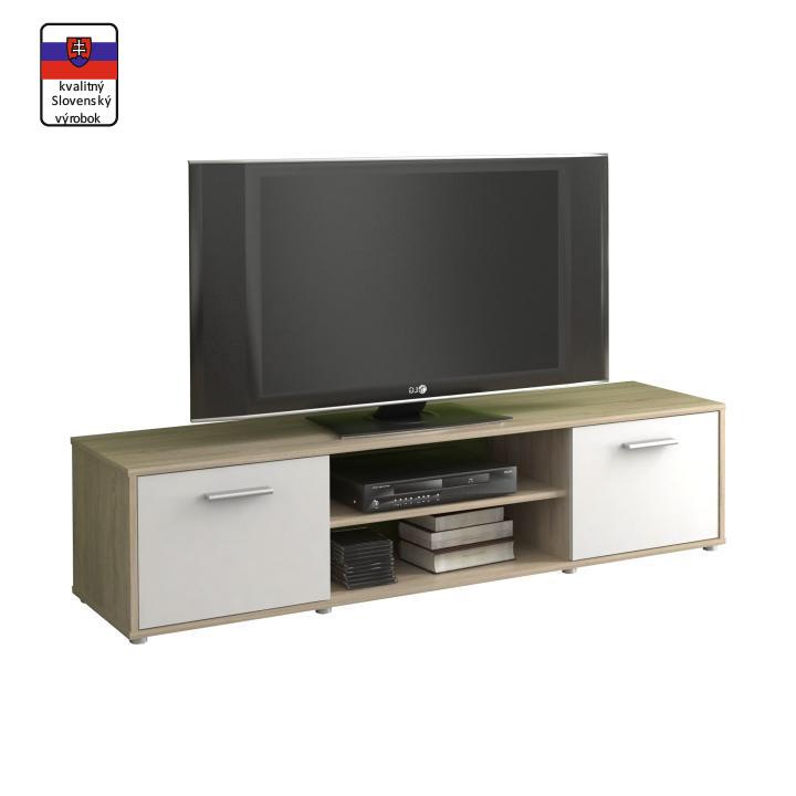 TV asztal/szekrény, sonoma tölgyfa/fehér ZUNO NEW