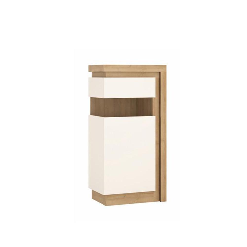 Vitrines szekrény LYOV02L, tölgy riviera/fehér extra magasfényű, LEONARDO
