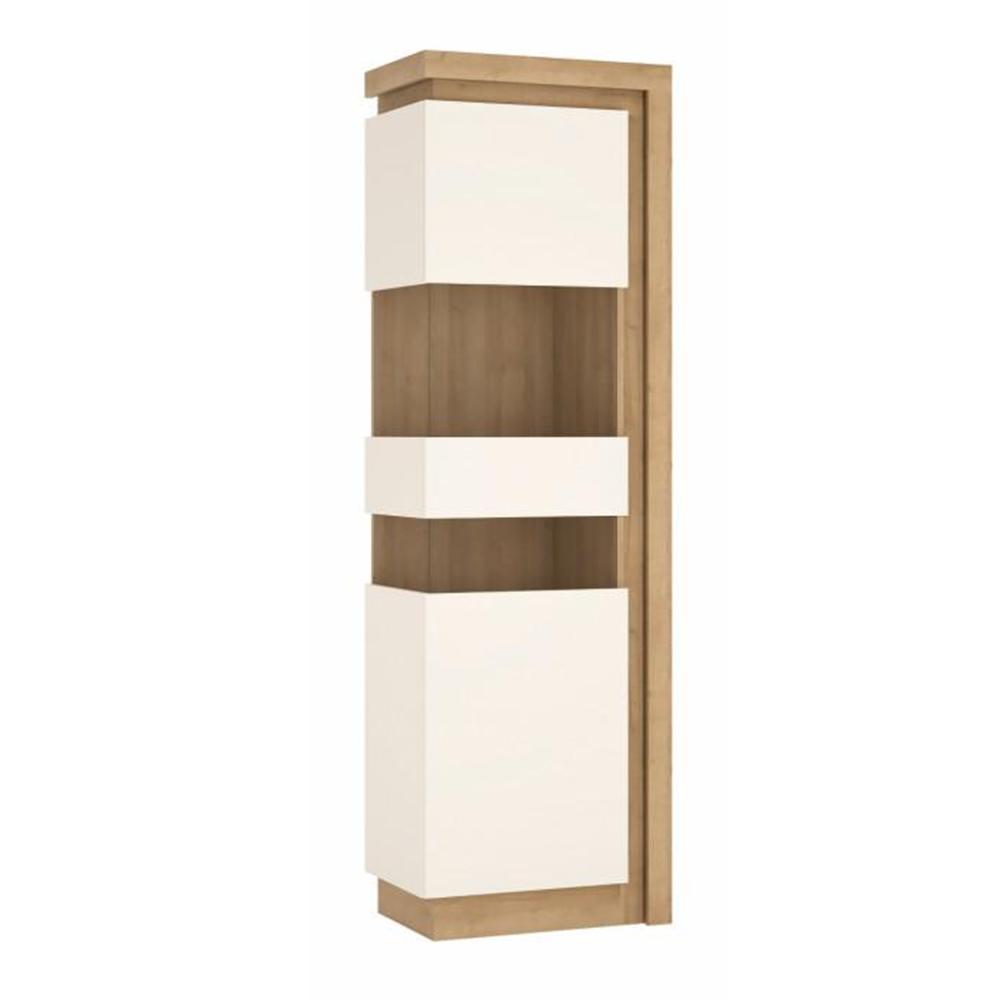 Vitrines szekrény LYOV03L, tölgy riviera/fehér extra magasfényű, LEONARDO