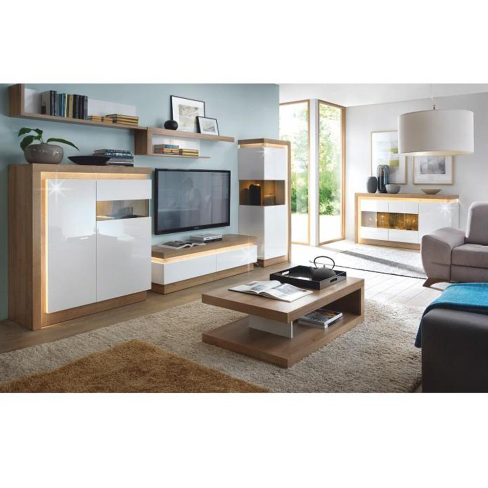 TV asztal 01, riviéra tölgyfa/extra magas fényű fehér, LEONARDO