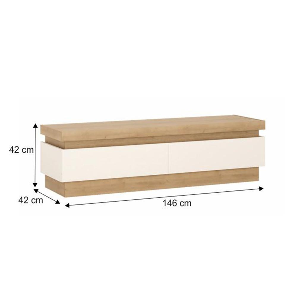 RTV asztal 01, tölgy riviéra/fehér extra magasfényű, LEONARDO