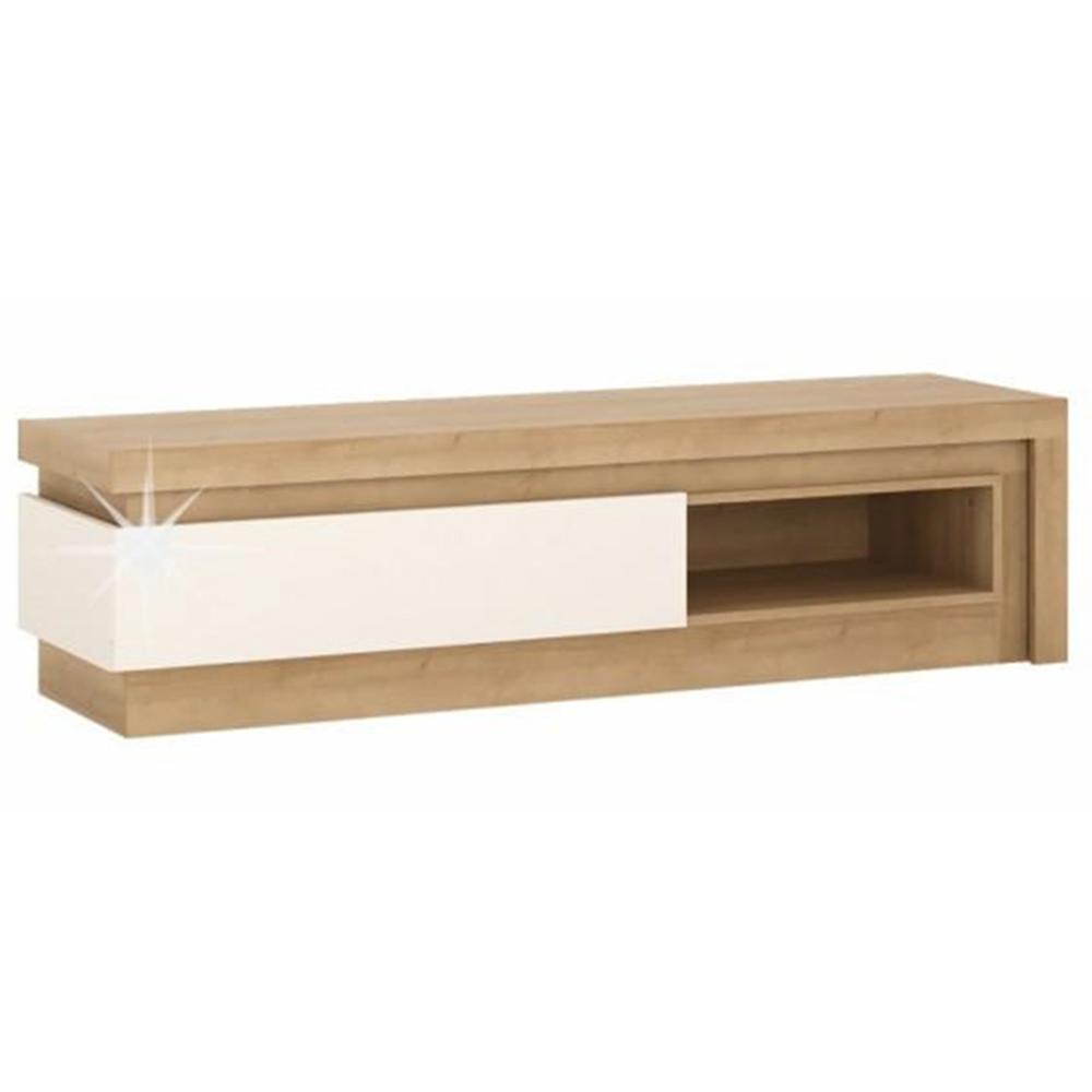TV asztal 02,  riviéra tölgy/fehér extra magasfényű, LEONARDO