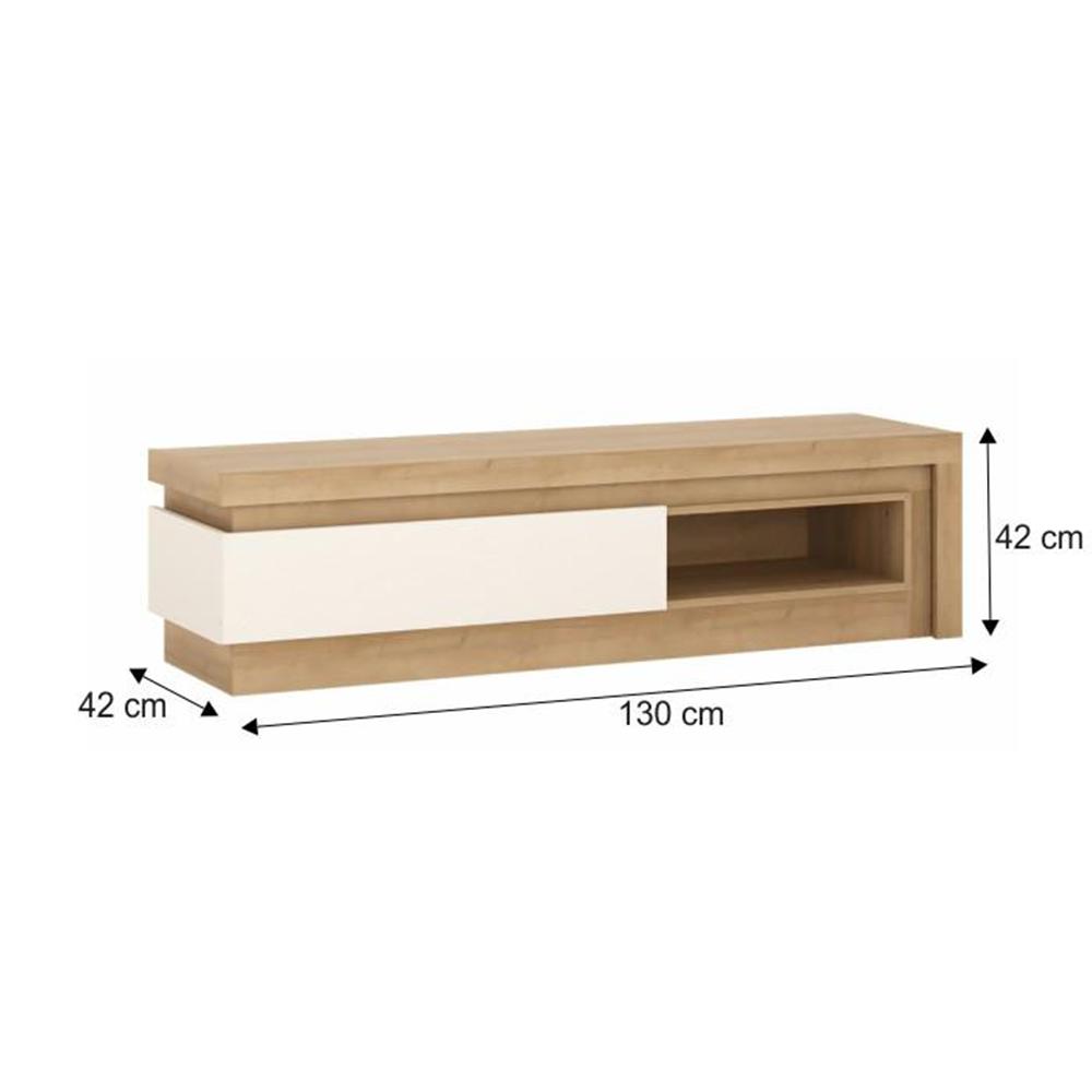 TV asztal 02, riviéra tölgy/HG fehér, LEONARDO