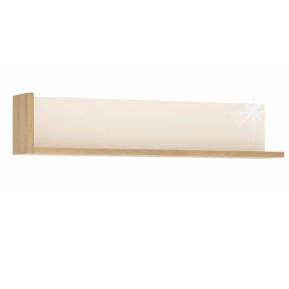 Polc LYOP01, tölgy riviera/fehér extra magasfényű, LEONARDO