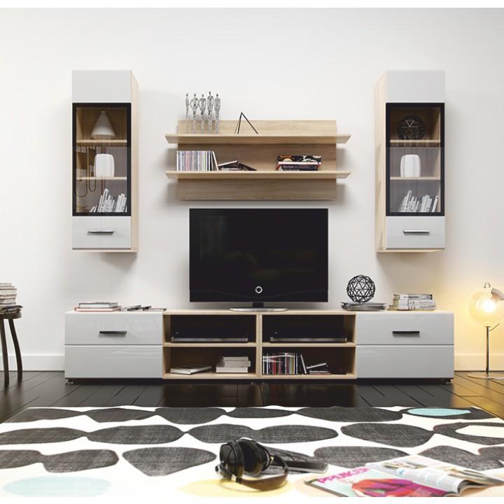 Obývacia stena, dub sonoma + biely extra HG, MIRAGO typ 1