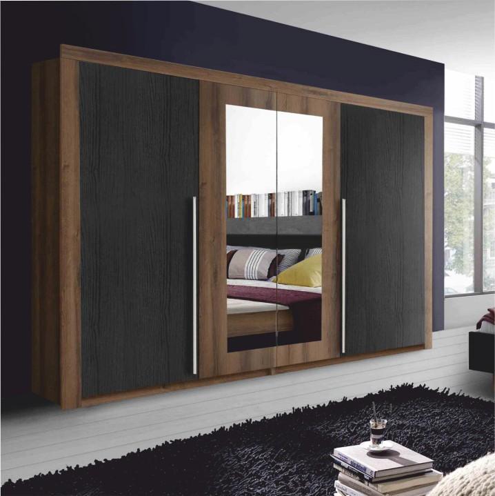 Skriňa so zrkadlom, DTD fóliovaná, dub tmavý/dub čierny, ASMAR
