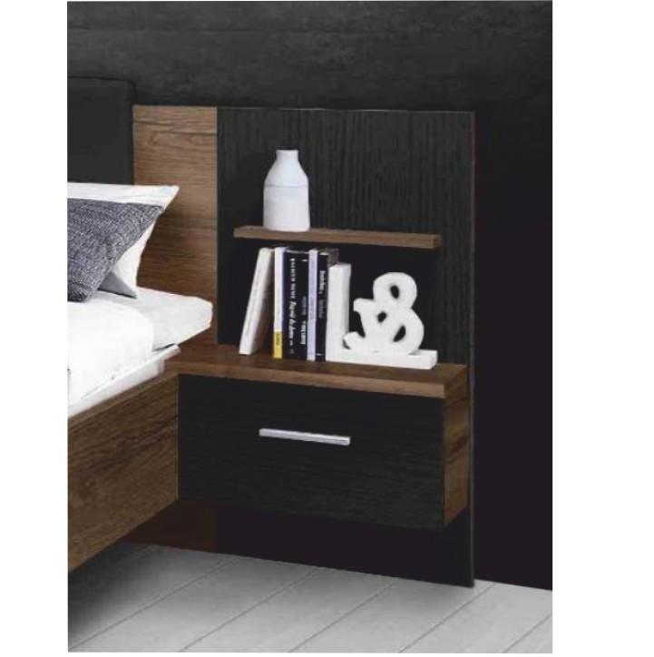 Nočný stolík, DTD fóliovaná, dub tmavý/dub čierny, ASMAR