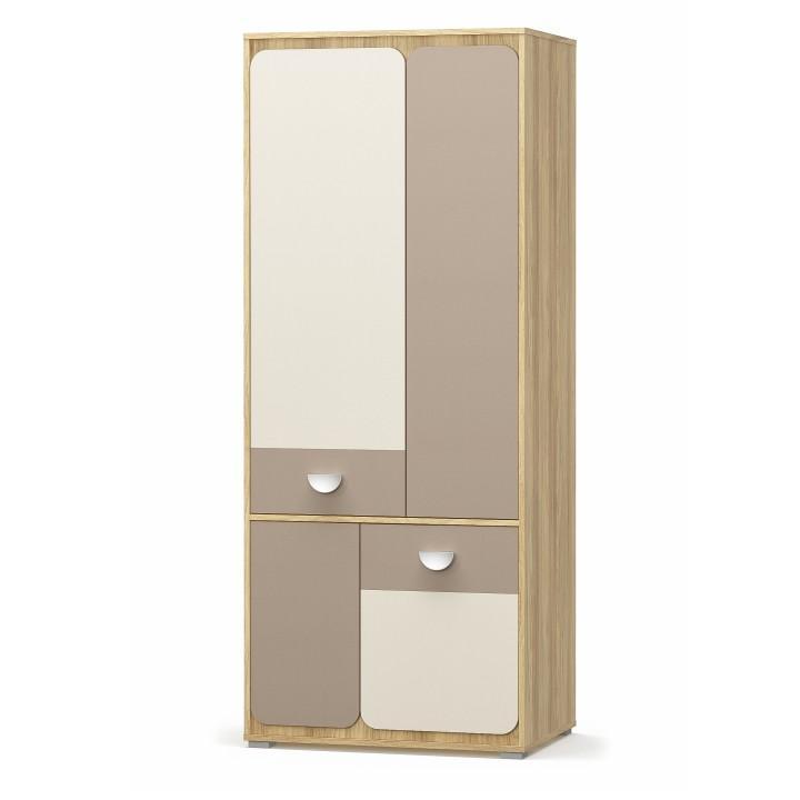 Akasztós szekrény 4D, árpás tölgy/champagne/cappuccino, LOTTY