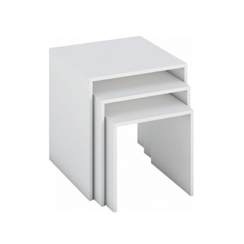 Set a trei măsuțe portabile, alb, SIPANI NEW